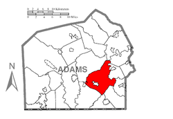 Map of Adams County, Pennsylvania highlighting Mount Pleasant Township