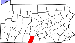 map of Pennsylvania highlighting Fulton County