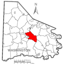 Map of Washington County, Pennsylvania highlighting South Strabane Township