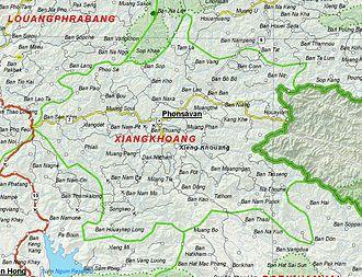 Xiangkhoang Plateau - Image: Map of Xiangkhoang Province, Laos