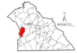 Map of York County, Pennsylvania highlighting Paradise Township