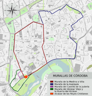 Roman walls of Córdoba - Walls of Córdoba: the Roman Walls on the left are dark red