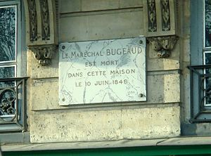 Thomas Robert Bugeaud - Bugeaud died at 1 Quai Voltaire in Paris (commemorative plate).