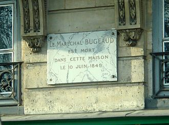Thomas Robert Bugeaud - Bugeaud died at 1 Quai Voltaire in Paris (commemorative plate).