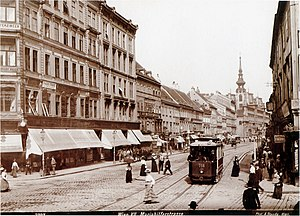 Trams in Vienna - Innere Mariahilfer Straße, view towards the city centre, with tram, 1908.