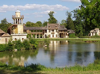 Hameau de la Reine - La maison de la reine and the Tour de Marlborough (left) in le hameau, at the Petit Trianon, park of Versailles