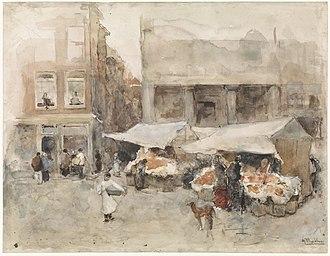 August Allebé - Image: Markt met bloemenstalletjes Rijksmuseum SK A 3724