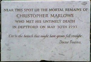 Marlovian theory of Shakespeare authorship - The body was buried in an unmarked grave in the churchyard of St Nicholas, Deptford. The plaque shown here is modern.
