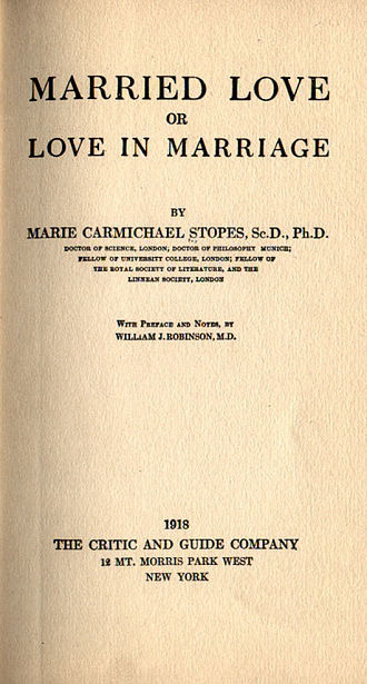 Marie Stopes - Cover of Marie Stopes's bestseller, Married Love.