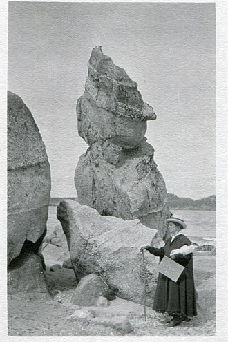 Mary Agnes Yerkes - ''Mary Agnes plein-air painting at Carmel,'' Carmel Beach, California, circa 1920s.