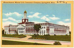 Massachusetts Mutual Life Insurance Company - A historic postcard of Massachusetts Mutual Life Insurance Company building in Springfield, Massachusetts