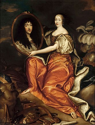 Henrietta of England - Henrietta as Minerva holding a painting of Monsieur, by Antoine Mathieu