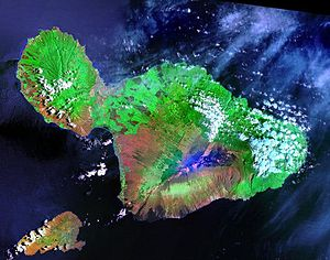 Landsat satellite image of Maui. The small isl...