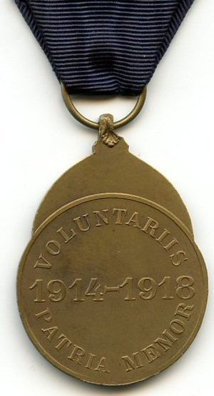 Volunteer Combatant's Medal 1914–1918 - Reverse of the Volunteer Combatant's Medal 1914–1918