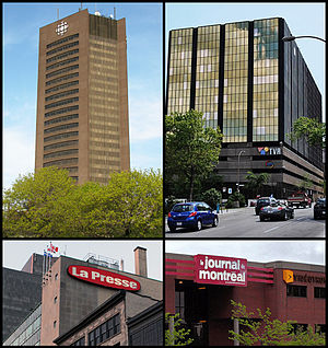 Media in Montreal - The Montreal buildings belonging to CBC/Radio-Canada, TVA, La Presse and Le Journal de Montréal