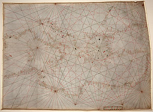 Portolan chart - The oldest original cartographic artifact in the Library of Congress: a portolan nautical chart of the Mediterranean Sea.  Second quarter of the 14th century.