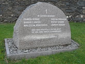 Loughinisland - 1994 memento to villagers, in St McCartan's churchyard, Loughinisland, County Down