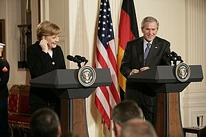 German Chancellor Angela Merkel and U.S. Presi...