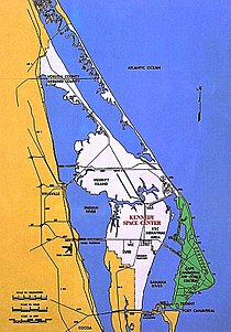 wit: Kennedy Space Center groen: Cape Canaveral Air Force Station