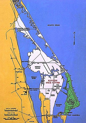 Cape Canaveral - KSC shown in white; CCAFS in green