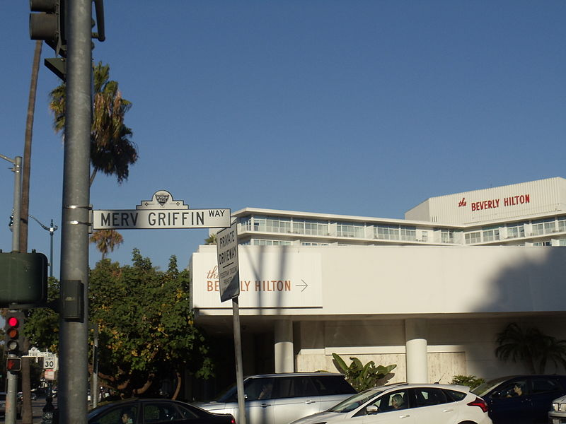 Merv Griffin Way with The Beverly Hilton in the background.JPG