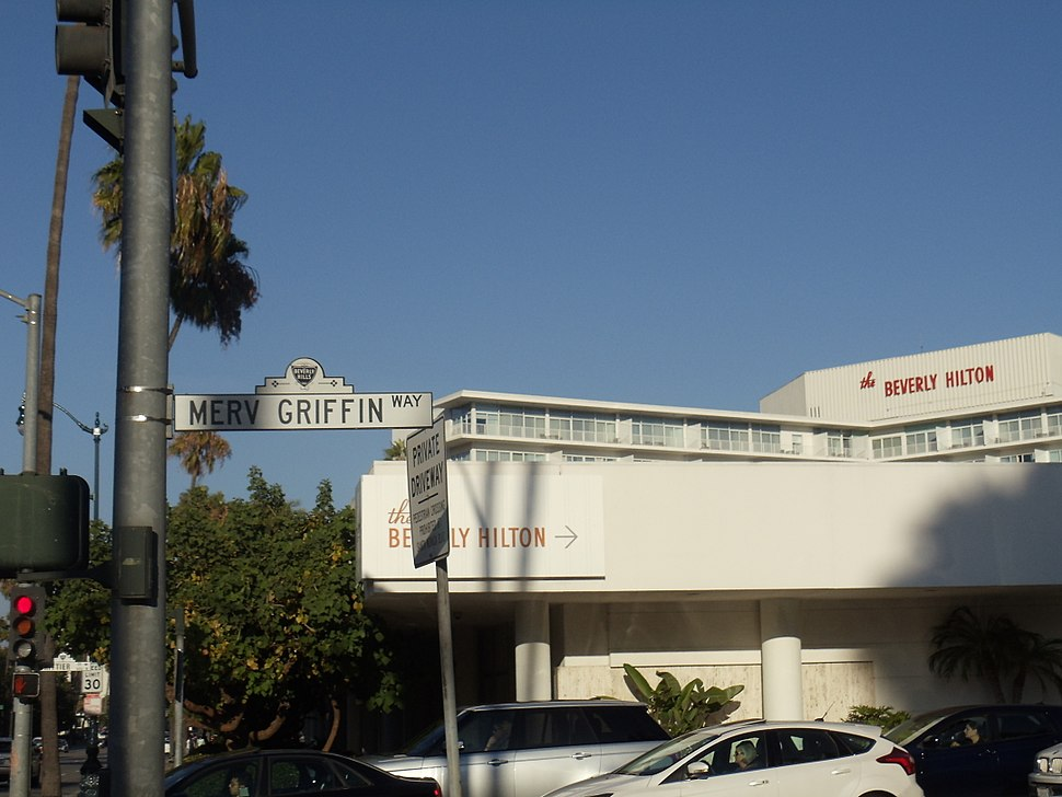 Merv Griffin Way with The Beverly Hilton in the background