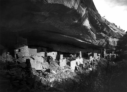 Ruins of Cliff Palace at Mesa Verde National Park. Photo by Gustaf Nordenskiold, 1891 Mesa-Verde---Cliff-Palace-in 1891 - edit1.jpg
