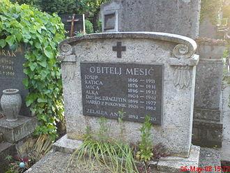 Marko Mesić (soldier) - Mesić family tombstone at Mirogoj Cemetery
