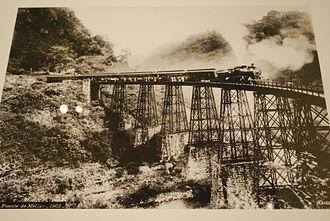 The Metlac railway bridge, an example of engineering achievement that overcame geographical barriers and allowed efficient movement of goods and people. Photo by Guillermo Kahlo MetlacBridgeKahlo.JPG