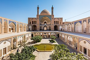 Agha Bozorg mosque - View of the mosque and its sunken courtyard.