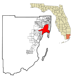 Miami-Dade County Florida Incorporated and Unincorporated areas Miami Highlighted.svg