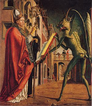 Saint Wolfgang and the Devil by Michael Pacher).