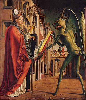 Satanism - Saint Wolfgang and the Devil, by Michael Pacher.