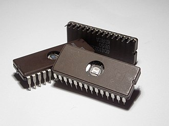 Integrated circuit - Erasable Programmable Read-Only Memory (EPROM) integrated circuits.  These packages have a transparent window that shows the die inside. The window is used to erase the memory by exposing the chip to ultraviolet light.