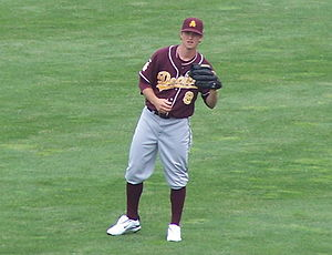 Mike Leake - Leake plays catch at the 2009 College World Series.