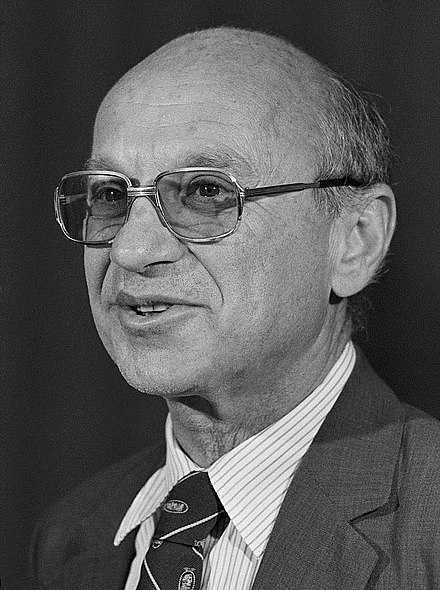 Friedman in 1976 Milton Friedman 1976.jpg