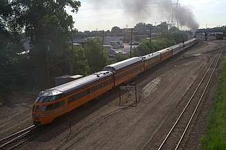 Dome car - An excursion train pulled by Milwaukee Road 261 with a full-length Super Dome car in 2008