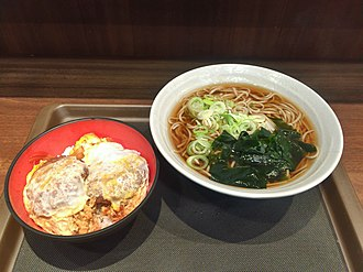 Katsudon and Soba Mini fillet cutlet donburi and kake soba at Fuji soba, Kichijoji (33266336996).jpg