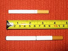 "An ordinary cigarette compared to a ""cigalike"" e-cigarette."