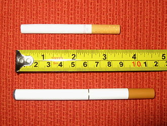 "Construction of electronic cigarettes - An ordinary cigarette compared to a ""cigalike"" e-cigarette."