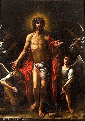 Mario Minniti - The Five Signs, workshop of Mario Minniti, showing characteristic Caravaggistic chiaroscuro and use of colour. Agira (Enna), Sicily – Church of Sant'Antonio.