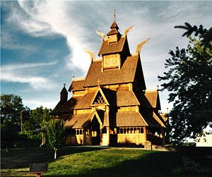 "Minot, North Dakota - The ""stave church"" in Minot's Scandinavian Heritage Park"