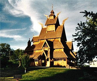 "Minot, North Dakota - The ""Gol Stave Church"" in Minot's Scandinavian Heritage Park"