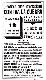 Cartel del mitin contra la guerra anunciado para el 18 de julio de 1936 en la plaza Monumental de Barcelona en el que Amparo Poch iba a tomar parte como presidenta en España de la sección femenina de War Resisters. El mitin se suspendió debido al levantamiento militar.