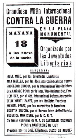 José Brocca - Publicity for an anti-war meeting in the bull ring at Barcelona, with José Brocca as one of the speakers. This was scheduled for 18 July 1936, but was cancelled when the army revolt broke out over the previous night.