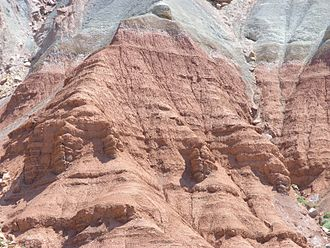 Geology of the Capitol Reef area - Moenkopi Formation below Chinle on cliff above Capitol Reef Scenic Drive.