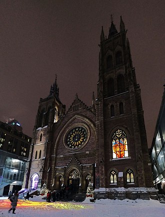 St. James United Church (Montreal) - Image: Montreal Saint James church exterior (perspective) enhanced