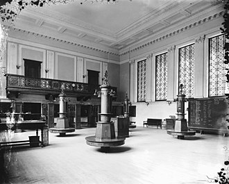 Montreal Exchange - The interior of the Montreal Stock Exchange in 1903. This building is today home to the Centaur Theatre.