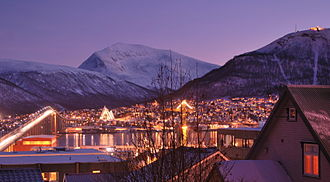 Polar night - Early afternoon during the polar night in Tromsø, Norway.