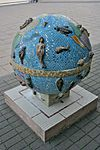 Mosaic globe sculpture at The National Archives, Kew 2.jpg
